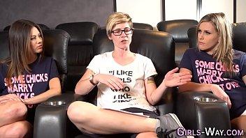 Lesbian babe shakes boobs