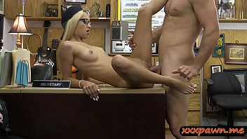 Very slim blond babe pounded by pawn man