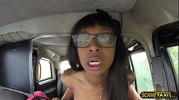 Damn horny ebony Lola rides a big cock inside the taxi