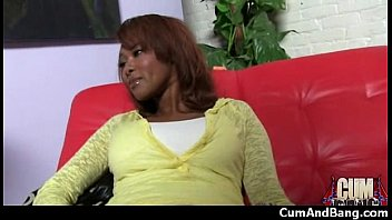 dark-hued woman deep throats many milky penises in.