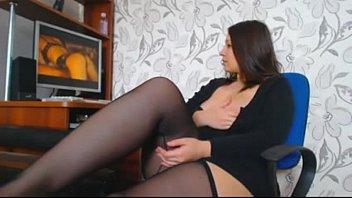 Brunette with huge boobs masturbates-ErickDarkeBadass.com