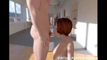 3d animated redhead blowing a big cock