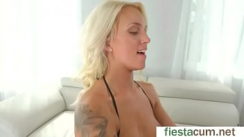Blake Carter hot blonde get finger fuck on sofa in sex action scene