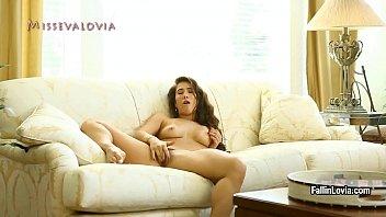 Sexy babe Eva Lovia shows her big tits and masturbates shaved pussy