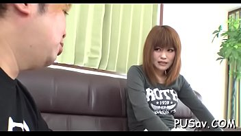 Japanese snatch gets finger fucked as she licks big cock