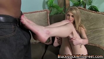 Sexy interracial blonde feet babe
