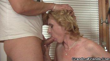 sharing thin elder female with puny.