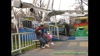 youthfull woman rails device in joy park more.