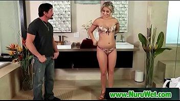 Busty asian sucking clients cock in nuru massage  19