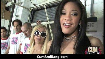 Extreme interracial gangbang - sexy ebony hottie group sex 6