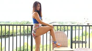 Sexy babe Eva Lovia masturbates her sweet shaved pussy