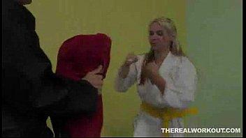 after a hard fuck Sara Vandella licks her Karate masters cum in the floor - Hardcore sex video - Tub