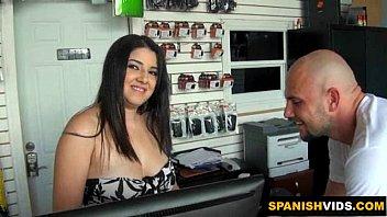 Naughty Latina Sucks A Big Cock At Work