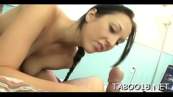 Appealing teen brunette hair pleases hard dick