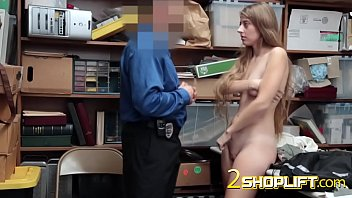 appetizing chick drilled by security guard