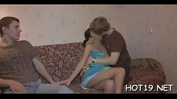 Lad looks at his breathtaking teen girlfriend getting pounded