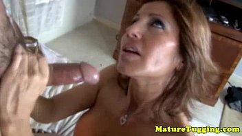 Big titted mature rubbing dick