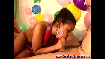 Pretty black girl amateur gives a blowjob at sex party