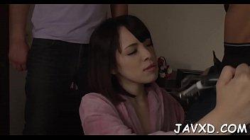Girl massaged &amp_ group-fucked