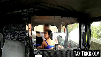 ebony-haired deep-throating on her cab drivers.