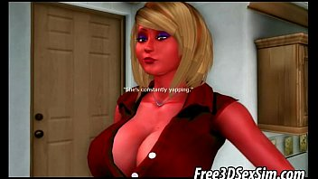 Busty 3D cartoon blonde babe sucks on a hard cock