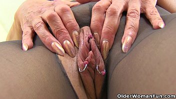 english gilf pandora penetrates her pantyhosed labia with.
