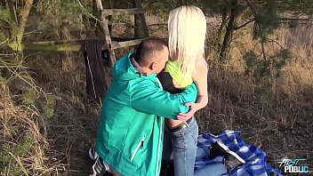 Half-Naked Blonde Pounded and Jizzed in Nature