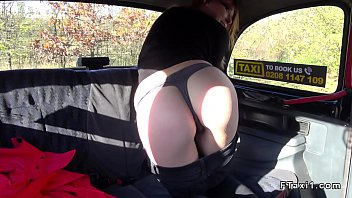 Brunette flashes ass in fake taxi