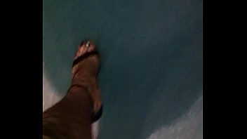 Walking in Sexy High Heels Fishnet Stockingd