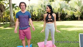 Monster tits Latina yoga coach bangs