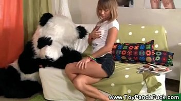 teenie lady gets worked up for sofa with toypanda
