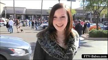 charming teenie bombshell dares to get bare-chested in public