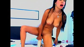Latina Girl Playing With A Giant Dildo At Home - gspotcam.com