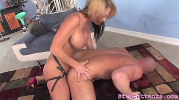 Milf dominatrix pegging sub and gives handjob