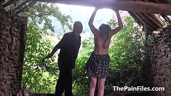 Saschas outdoor tit whipping and brutal bizarre domination of amateur bdsm slave
