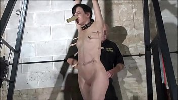 Fetish pornstar Elise Graves in fierce dungeon whipping and humiliating clamping