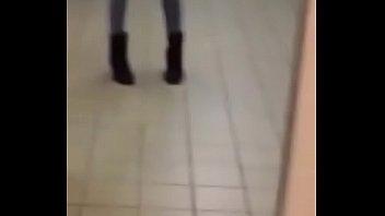 Sexy tgirl showing off in public bathroom
