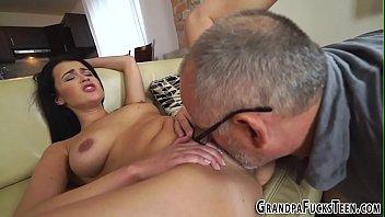 Latina gets old cock cum