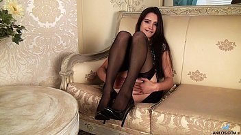 Gorgeous petite milf in stockings