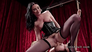 ball-gagged girl/girl in suspension caned