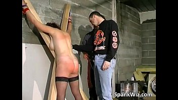crazy trussed brown-haired gets bootie spanked