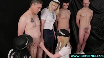 British femdom cops give naked guys CFNM handjobs for ID parade