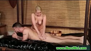 Hot asian masseuse gives pleasure with her tits in nuru massage 06