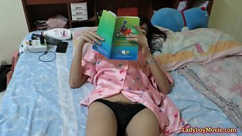 Thai shemale Am strokes her dick home alone