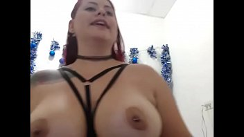 Hot girl teasing big tits on webcam