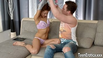 Young small boobed girl Esmeralda Fox takes cock