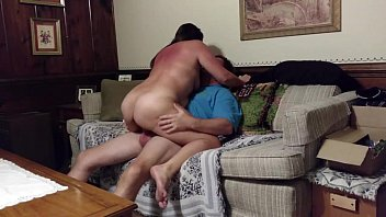 Horny big-assed milf fucking on Mom'_s couch while housesitting