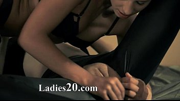 blackhair stunner gets pounded with strap.
