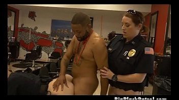 two milky cops plumbing ebony boy in bombshell parlour