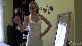 Sophia Smith in sexy satin white dress